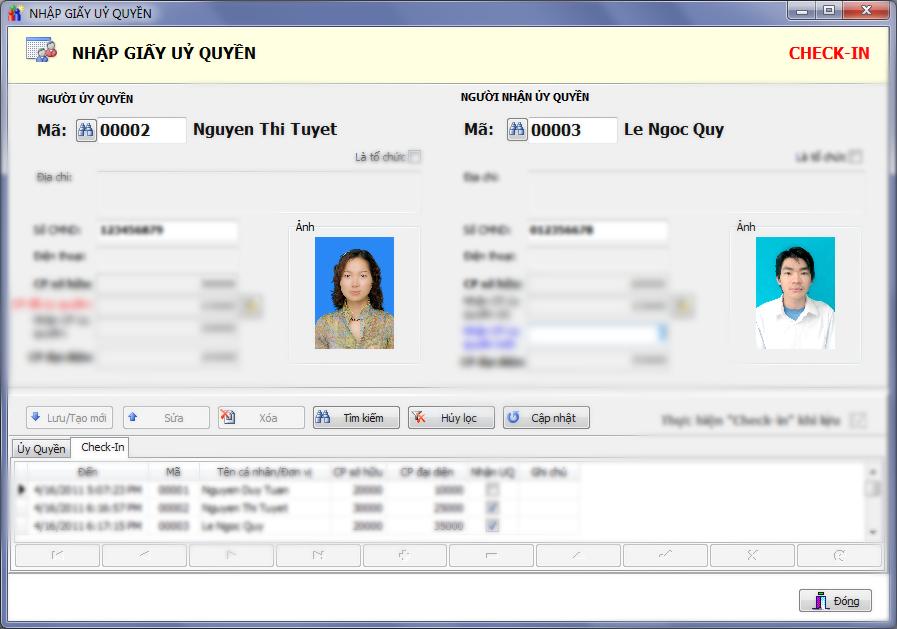 check-in ủy quyền phần mềm kiểm phiếu bầu cử